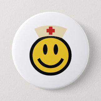 Verpleegster Smiley Ronde Button 7,6 Cm