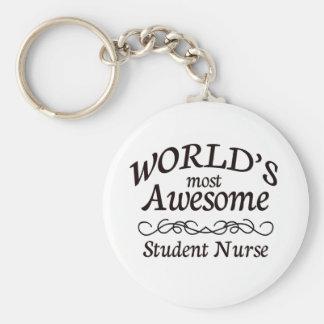 Verpleegster van de Student van de wereld de Meest Basic Ronde Button Sleutelhanger