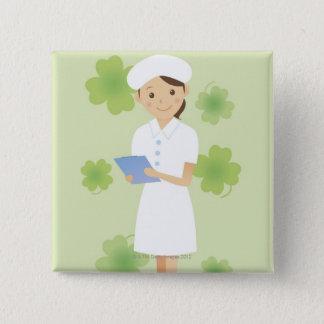 Verpleegster Vierkante Button 5,1 Cm