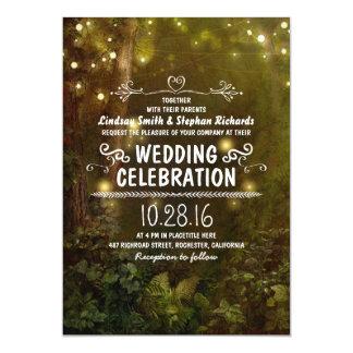 verrukte bos het huwelijksuitnodigingen van kaart