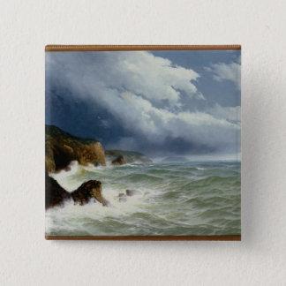 Verschepend in Open zeeën, 1882 (olie op canvas) Vierkante Button 5,1 Cm