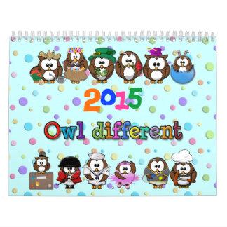 verschillende de uil van 2015; identieke uil kalender