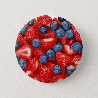 Verse bosbessen en aardbeien ronde button 5,7 cm