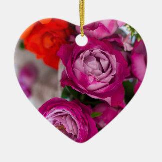 verse rozen keramisch hart ornament