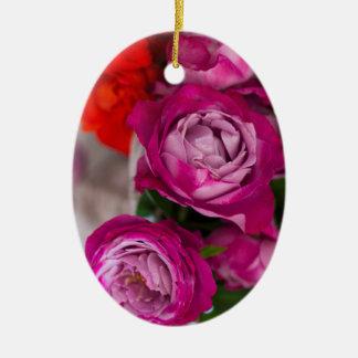verse rozen keramisch ovaal ornament