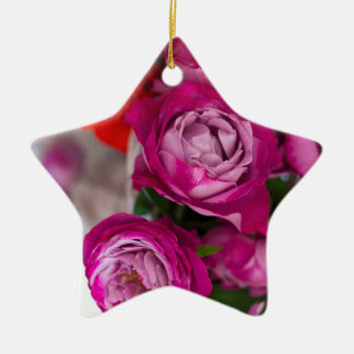 verse rozen keramisch ster ornament