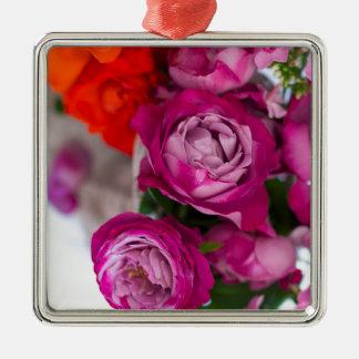 verse rozen zilverkleurig vierkant ornament