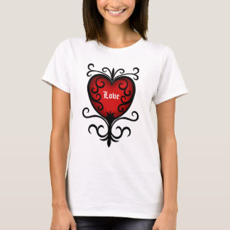 Versierd elegant donkerrood gotisch hart t shirt