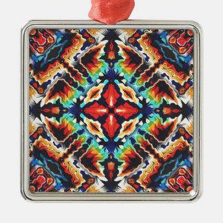 Versierd Geometrische Kleuren Zilverkleurig Vierkant Ornament