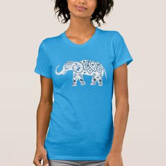 Versierd Gevormde Blauwe Olifant T Shirt