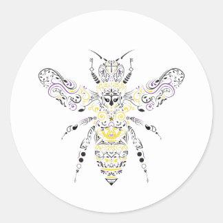 versierd honingsbij ronde sticker