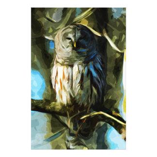 Versperde Uil in het Abstracte Impressionisme van Foto Afdrukken
