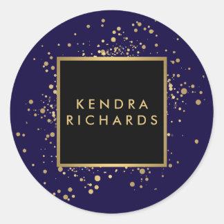 Verspreide Gouden Confettien Faux op Modern Blauw Ronde Sticker