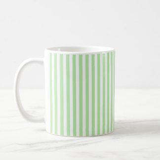 Verticale Zachte Groene en Witte Strepen Koffiemok