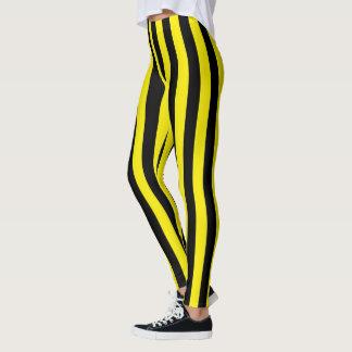 Verticale Zwarte en Gele Strepen Leggings