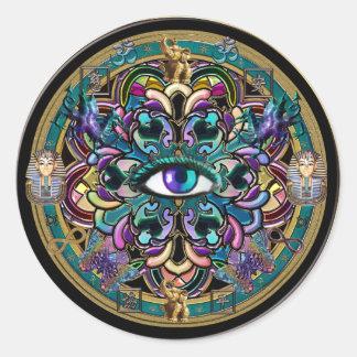 Vertrouwen zelf ~ de Ogen van de Wereld Mandala Ronde Sticker