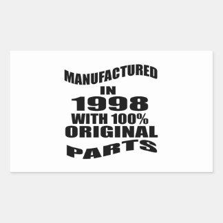 Vervaardigd in 1998 met de Originele Delen van Rechthoekige Sticker
