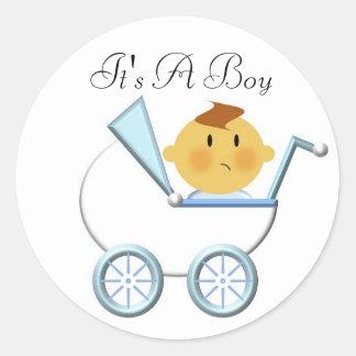 Vervoer van het baby (3), het is een Jongen Ronde Stickers
