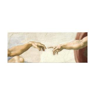 Verwezenlijking van Adam Hands - Michelangelo. Canvas Afdruk
