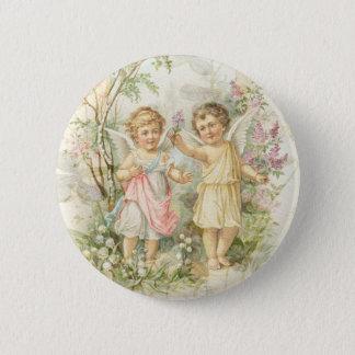 Verzamel me - Twee Engelen Verzamelt Bloemen Ronde Button 5,7 Cm