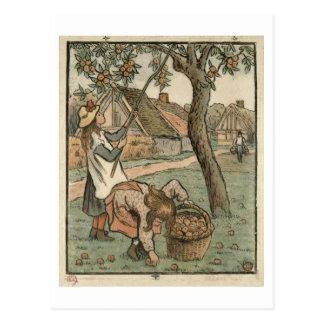 """Verzamelt Appelen, van """"Travaux des Champs"""", engra Briefkaart"""