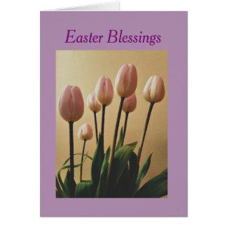 Verzend de Zegen van Pasen met Tulpen Wenskaart