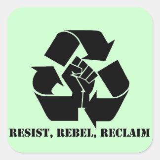 Verzet tegenme, rebelleer, win terug vierkant stickers
