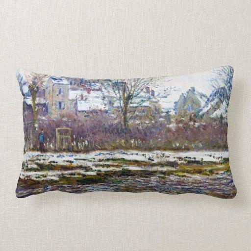 Sierkussen sierkussen tekst : Vetheuil, de Kerk, Sneeuw Claude Monet Decoratie Kussens : Zazzle