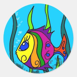 Vette Kleurrijke Vissen Ronde Sticker