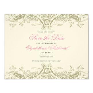 Victoria slaat de Datum in Grijs op 10,8x13,9 Uitnodiging Kaart