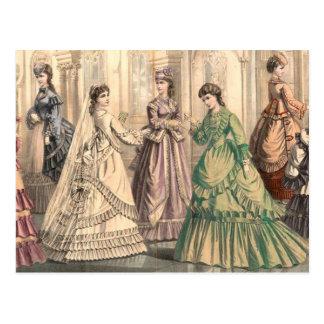 Victoriaans Bruid en Bedienden Briefkaart