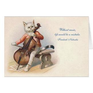 Victoriaans cello-Spelende Kat Kaart