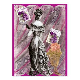 Victoriaans Dame Love Briefkaart