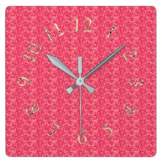 Victoriaans-elegant-roze-gouden-rond-SQ Vierkante Klok