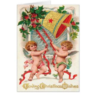 Victoriaans Engelachtige Engelen die in Kerstmis Wenskaart