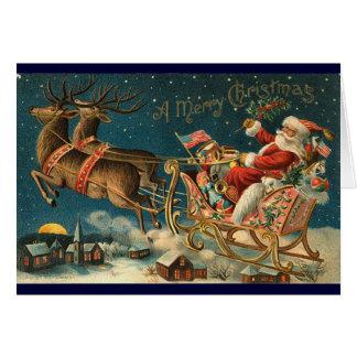 Victoriaans Kerstkaart - Kerstman Kaart