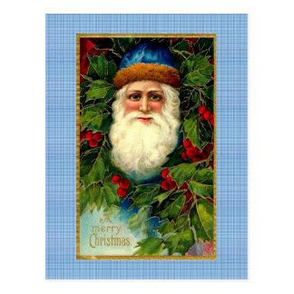 Victoriaans Kerstman op Plaid Briefkaart