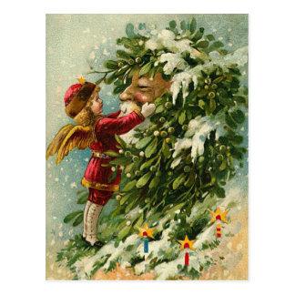 Victoriaans Kerstmis Faerie en Kerstman Briefkaart