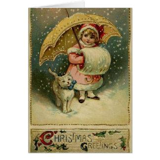 Victoriaans Kind en Kat in de Kerstkaart van de Sn Wenskaart