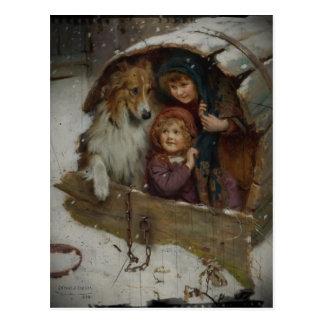 Victoriaans Kinderen in Hondehok Briefkaart