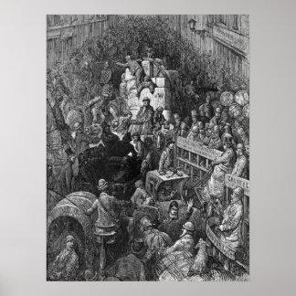 Victoriaans Londen - een Stad Throughfare Poster