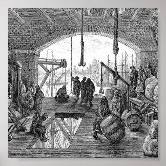Victoriaans Londen - Pakhuis door de Theems Poster