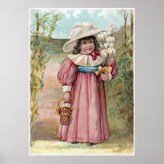 Victoriaans Meisje met de Lelies van Pasen voor Poster