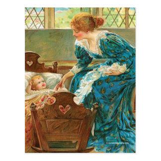 Victoriaans Moeder die Haar Baby in een Wieg Briefkaart