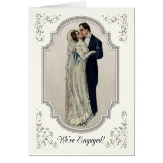Victoriaans Paar in het Verloving van de Kleding Wenskaart