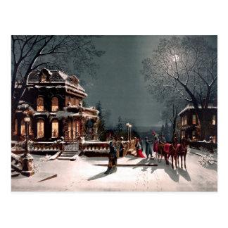 Victoriaans Van de Bedrijfs partij van Kerstmis Br Briefkaart