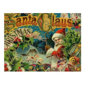 Victoriaans van de Kerstman van Kerstmis Antiek Briefkaart