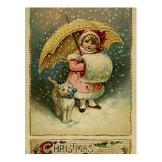 Victoriaans Vintage Retro Kerstmis van het Kind en Briefkaart