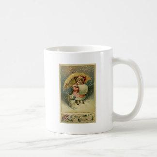 Victoriaans Vintage Retro Kerstmis van het Kind en Koffiemok
