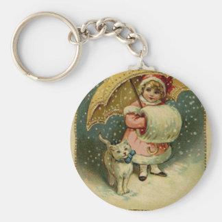 Victoriaans Vintage Retro Kerstmis van het Kind en Sleutelhanger